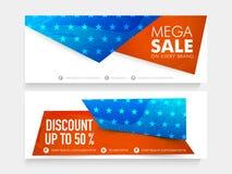 Mega sprzedaży sieci chodnikowiec lub sztandar dla 4th Lipiec Obrazy Royalty Free
