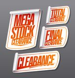 Mega stock clearance, total and final clearance, sale stickers stock illustration