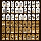 Mega stor uppsättning av den tryckbar hand drog etiketten för ferie 54 med skriftliga uttryck för en hand Moderiktig säsongsbeton stock illustrationer