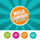 Mega summer outlet color banner and 10%, 20%, 30% & 40% Off Marks. Vector illustration. Eps10 Vector for business and online shops Stock Photo