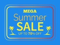 Summer Sale up to 70 off Colorful Illustration. Mega summer sale up to 70 percent poster with text isolated on blue background. Silhouettes of palm trees in Royalty Free Stock Images