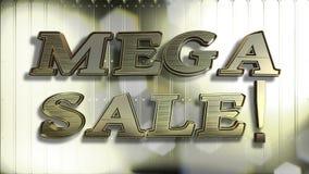 Mega- Text des Verkaufs-Gold3d stockbilder