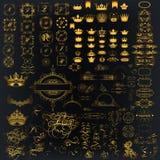 Mega toppen samling av calligraphic krusidullar för vektor, kronor, stock illustrationer
