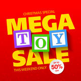 Mega toy sale banner. Mega toy sale Christmas special banner Royalty Free Stock Images