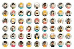 Mega uppsättning av cirkelpersoner, avatars, olik nationalitet för folkhuvud i plan stil