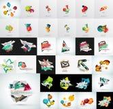 Mega uppsättning av det abstrakta geometriska rengöringsdukbanret Arkivbild