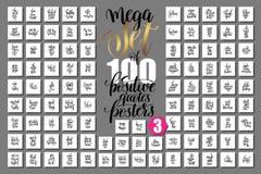 Mega uppsättning av 100 positiva citationsteckenaffischer, motivational och inspir Royaltyfri Illustrationer