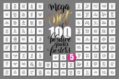 Mega uppsättning av 100 positiva citationsteckenaffischer om lycklig sommar Royaltyfri Illustrationer