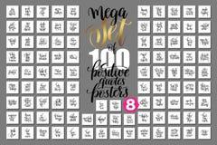 Mega uppsättning av 100 positiva citationsteckenaffischer som är motivational Royaltyfri Illustrationer