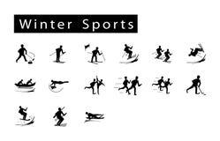 Mega uppsättning av 15 symboler för vintersport Royaltyfri Bild