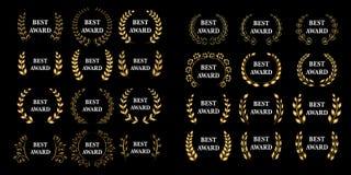 Mega uppsättning för bästa utmärkelse För utmärkelselager för vektor guld- krans Svart version Isolerade illustrationer royaltyfri illustrationer