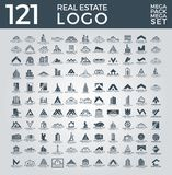 Mega uppsättning och stor grupp, Real Estate, byggnad och konstruktion Logo Vector Design vektor illustrationer