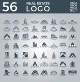Mega uppsättning och stor grupp, Real Estate, byggnad och konstruktion Logo Vector Design royaltyfri illustrationer