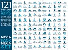Mega uppsättning och stor grupp, Real Estate, byggnad och konstruktion Logo Vector Design stock illustrationer