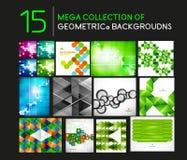 Mega uppsättning av geometriska formabstrakt begreppbakgrunder Arkivfoto