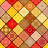 Mega ursnygg sömlös patchworkmodell från färgrika marockanska tegelplattor, prydnader vektor illustrationer