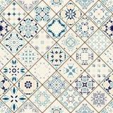 Mega ursnygg sömlös patchworkmodell från färgrika marockanska tegelplattor, prydnader stock illustrationer