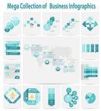 Mega van het bedrijfs inzamelings infographic malplaatje zieke conceptenvector Royalty-vrije Stock Afbeelding