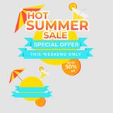 Mega- Verkauf der heißen besten Preisfahne des Sommer-Sonderangebots stock abbildung