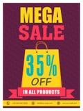 Mega- Verkaufs-Flieger-, Plakat- oder Fahnendesign Stockbild