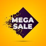 Mega- Verkaufs-Zusammenfassungsfahne mit Explosionseffekt vektor abbildung