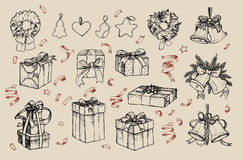Mega vintage set. Hand drawn vector illustrations - merry christmas Stock Images