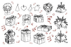 Mega vintage set. Hand drawn vector illustrations - merry christmas. (gifts, wreaths, confetti, bells, christmas toys).  Perfect for invitations, greeting cards Royalty Free Stock Images
