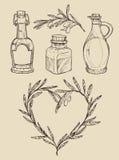 Mega vintage set. Hand drawn vector illustrations - Olive oil Royalty Free Stock Images