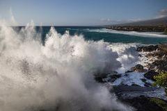 Mega Wave. Huge waves break against the shore Royalty Free Stock Photos
