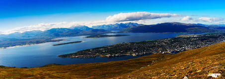 Mega wide panorama of  Tromso city background Royalty Free Stock Photography
