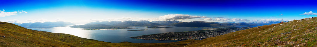 Mega wide panorama of  Tromso city background Stock Photo
