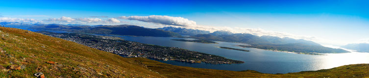 Mega wide panorama of  Tromso city background Royalty Free Stock Image