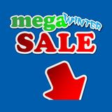 Mega winter sale - information sign. With red arrow and text Vector Illustration