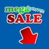 Mega- Winterschlussverkauf - Hinweiszeichen Stockbild