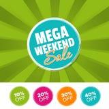 Mega- Wochenende Verkaufsfarbefahne und 10%, 20%, 30% u. 40% weg von den Kennzeichen Auch im corel abgehobenen Betrag vektor abbildung