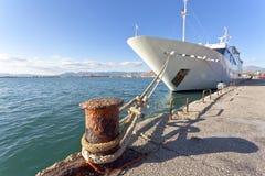 Mega yacht. Docked in harbor Stock Photography