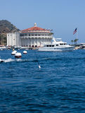 Mega Yacht at Avalon Harbor. Starboard view of mega yacht in front of the historic Casino Building in Avalon Harbor, Catalina Stock Images