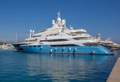 Mega yacht belonging to the super rich Stock Photo