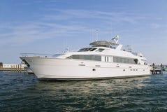 Mega Yacht at Dock. A beautiful mega yacht docks in Palm Beach Florida Royalty Free Stock Image