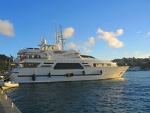 Mega yacht in Gustavia Harbor at St Barths, French West Indies. Royalty Free Stock Images