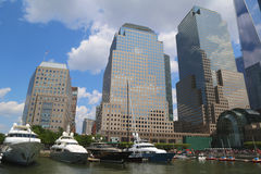 Mega yachts docked at the North Cove Marina at Battery Park in Manhattan Stock Image