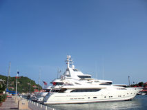 Mega yachts in Gustavia Harbor at St Barths, French West Indies Stock Photos