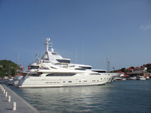 Mega yachts in Gustavia Harbor at St Barths, French West Indies Stock Photography