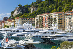 Mega yachts in Port of Nice, France Stock Images