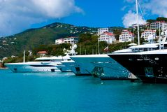 Mega Yachts in St Thomas Stock Image