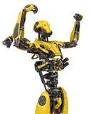 Mega yellow robot super drone victorious in a white background. The mega yellow robot super drone in a white background, will put some fun at all yours hi tech