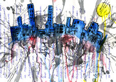 Megacity and architecture and house and son. Solar city and architecture and house Royalty Free Illustration