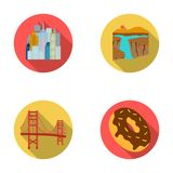 A megacity, a grand canyon, a golden gate bridge,donut with chocolate. The US country set collection icons in flat style. A megacity, a grand canyon, a golden Stock Photography