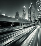 Megacity Highway. At night with light trails in shanghai china Stock Image