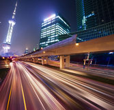 Megacity Highway. At night with light trails in shanghai china Royalty Free Stock Photos